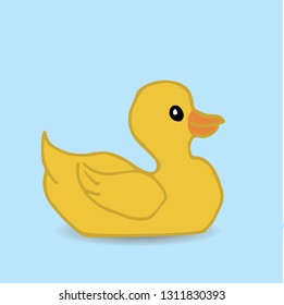 A vector illustration of a yellow rubber duck