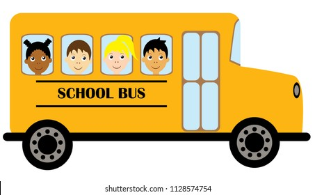 vector illustration of yellow school bus transportation education background. kids riding school bus.