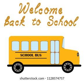 vector illustration of yellow school bus transportation education background