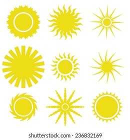 Vector  Illustration  with Yellow Sun icons Set on White Background