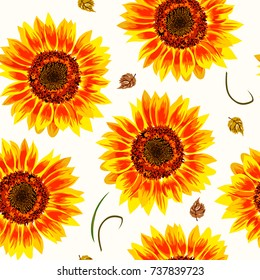 Vector illustration of yellow sunflowers seamless pattern. Yellow sunflowers with black seeds and yellow leaves on light pastel background.