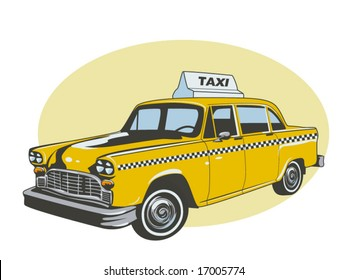 vector illustration of a yellow taxi