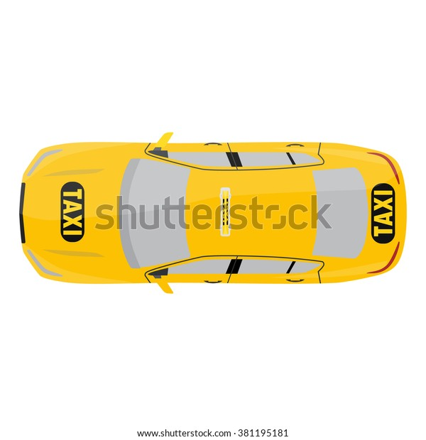 Vector Illustration Yellow Taxi Car Top Stock Vector (Royalty Free