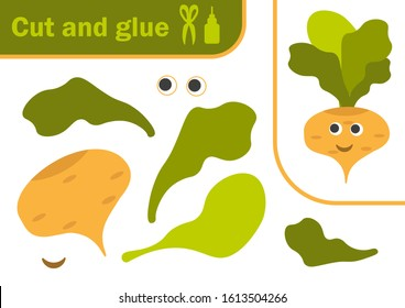 Vector illustration of a yellow turnip vegetable with a cute smile. paper game for the development of preschool children. Cut parts of the image and glue on the paper. Funny game for kids and children