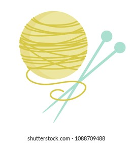 Vector illustration of yellow yarn ball with knitting needle. Cute Vector card for knitting. Design elements for handmade. Yarn ball and needles icon.