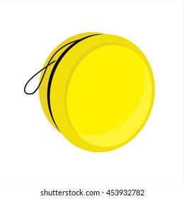 Vector illustration yellow yoyo toy with smile. Yo yo symbol, icon flat