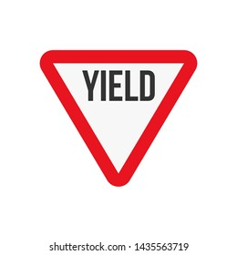 Vector illustration of a yield triangle road sign.
