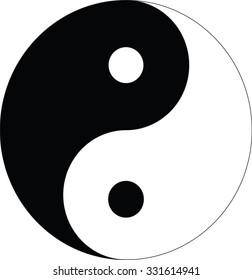Vector illustration of Yin yang, taoistic symbol of harmony and balance