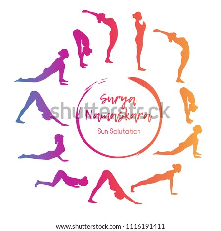 Vector illustration yoga exercise sun salutation stock vector vector illustration yoga exercise sun salutation steps of morning gymnastics in colorful gradient with silhouettes m4hsunfo