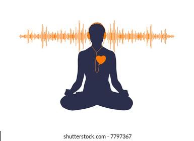 Vector Illustration Of Yoga Listening His Heart