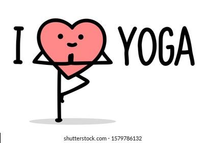 vector illustration of yoga lover cartoon heart character