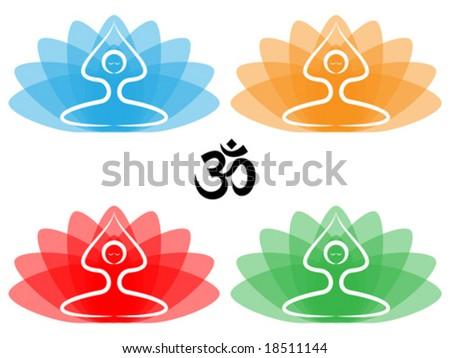 Vector illustration yoga pose lotus flowers stock vector royalty vector illustration of yoga pose with lotus flowers and om symbol mightylinksfo