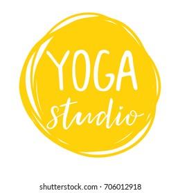 Vector illustration for an yoga studio, yellow background