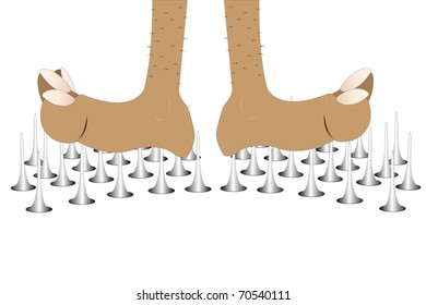 Vector illustration of yogi's legs stand on the nails