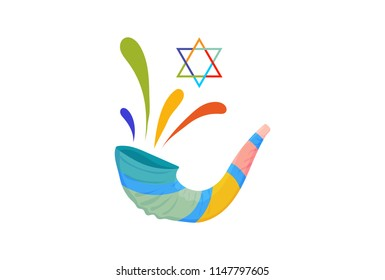 Vector illustration for Yom Kippur and Rosh Hashanah: shofar or Yom Kippur Horn. Great as Holiday banner, postcard, greeting template.