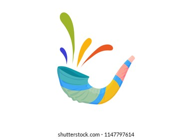 Vector illustration for Yom Kippur and Rosh Hashanah: shofar or Yom Kippur Horn isolated. Great as Holiday banner, postcard, greeting template.