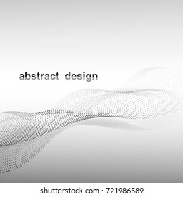 vector illustration you can use it as template for background for your text. Black-n-white cyberspace with dynamic gray wave and reflection.