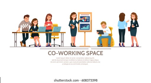 Vector illustration young adult group people meeting, working and talking co working center. Team teamwork togetherness collaboration