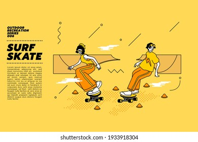 Vector illustration of young Asian couple go surfing with skateboard or surf skate at ramp track or skate park on modern style abstract with composition background. Cone Skating. Slalom Cones.