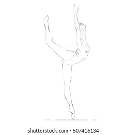 Vector Illustration of Young Ballerina. Free Hand Drawing of a Ballet Dancer Girl. Freehand Drawing of a Dancing Woman. Vector Sketch. Rhythmic Gymnastics Sporty Girl.