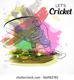 Vector illustration of a Young batsman in playing splash color background.