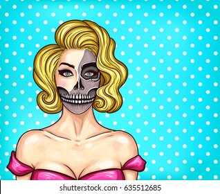 Vector illustration of a young beautiful girl with makeup in pop art style. Make-up imitating bare face skull, skeleton face, great for Halloween
