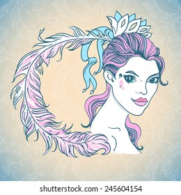 Vector illustration of young beautiful woman with feather in her hair.