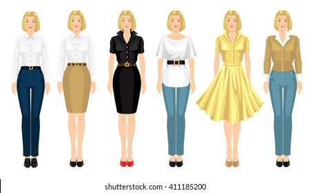 Vector illustration of young blonde girls in clothes for office and holiday