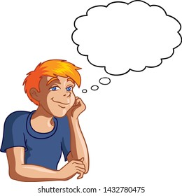 Vector illustration of a young boy daydreaming with a thought balloon.