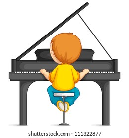 vector illustration of  young boy playing piano