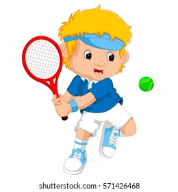 vector illustration of Young boy playing tennis with a racket