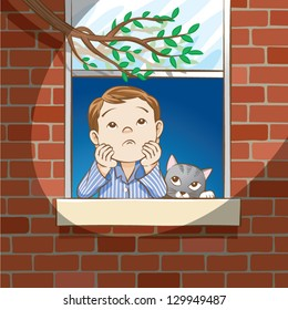 Vector illustration of a young boy staring out the window, looking very troubled.