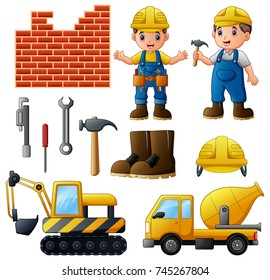Vector illustration of Young builders and equipment set isolated on white background