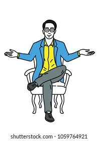Vector illustration of young businessman, sitting on armchair, cross legged, stretching hands, smiling, and happy expression. Outline, linear, thin line art, hand drawn sketch design.