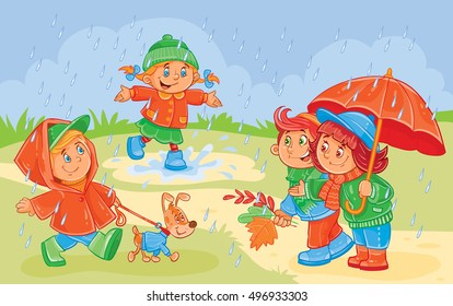 Child Playing In Rain Drawing Stock Illustrations Images