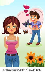 A vector illustration of a young couple, for butterflies in the stomach concept