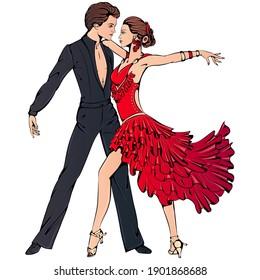 Vector illustration of young couple dancing ballroom Latin dance isolated on white background. Samba dancer character. Dance icon. Classical ballroom Latin dance art for studio, shop.