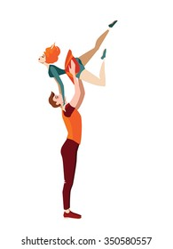 vector illustration of young couple dancing acrobatic rock 'n' roll