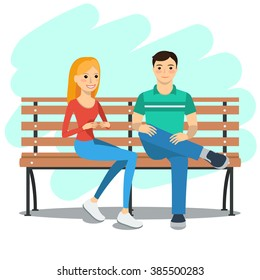 Vector illustration of young couple sitting on a bench and talking. Rest and outdoor quiet time.