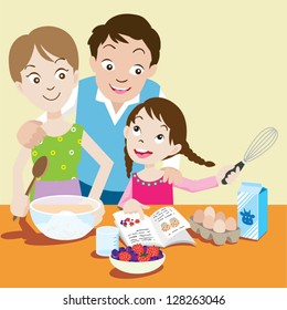 Vector illustration of young couple and their daughter baking muffins in the kitchen.