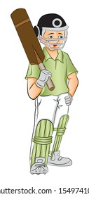 Vector illustration of young cricket batsman holding a bat, hand on hip.