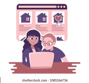 Vector illustration of young diverse couple hunting for a starter home on the internet, looking at listings, looking at homes for sale. Easy to customize.