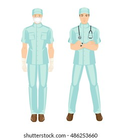 Vector illustration of young doctor in medical uniform and hat. Surgeon in mask and glove