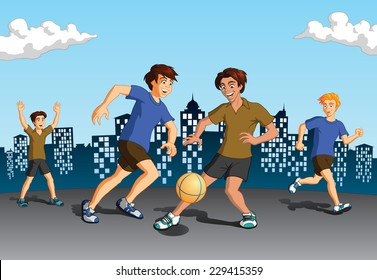 Vector illustration of young energetic boys playing soccer on urban background with silhouette of buildings.