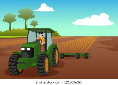 A vector illustration of Young Farmer Riding a Tractor