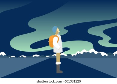 Vector illustration of young female traveler watching Aurora or northern light in arctic region with snow and ice mountain in the background. A tourism and adventure poster banner concept.