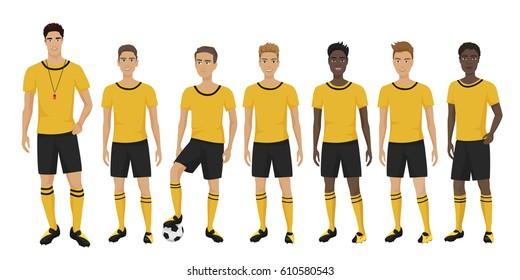 Vector illustration of the young football players team with coach trainer wearing the uniform. Soccer team.