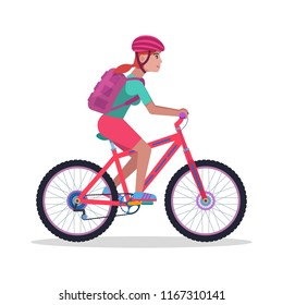 Vector illustration of a young girl with a backpack and wearing a helmet rides a mountain bike. Isolated white background. The woman on a bicycle. Flat style.