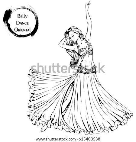 Vector Illustration Young Girl Dancing Belly Stock Vector Royalty