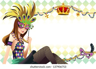A vector illustration of young girl holding mardi gras mask with copy space